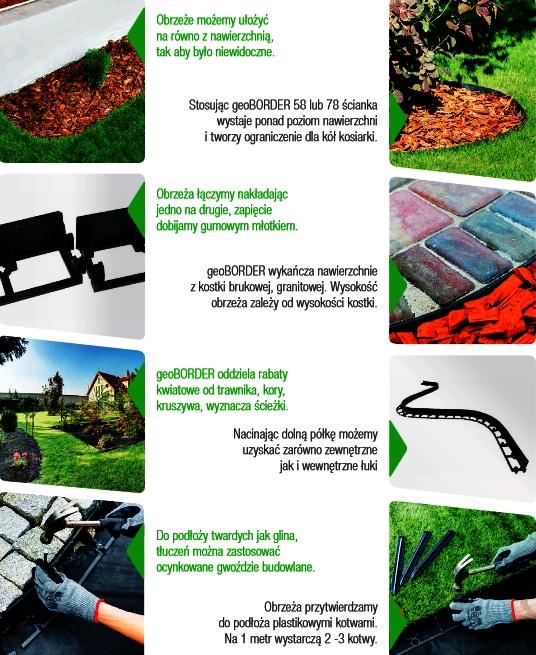 Montaż obrzeży trawnikowych typu geoBORDER