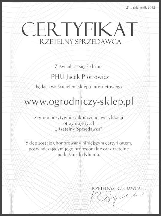 Certyfikat Rzetelny Sprzedawca 2012 dla sklepu ogrodniczego www.Ogrodniczy-Sklep.pl